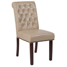 HERCULES Series Beige Leather Parsons Chair with Rolled Back, Nail Head Trim and Walnut Finish