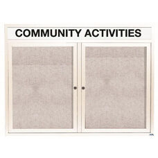 2 Door Outdoor Enclosed Bulletin Board with Header and White Powder Coated Aluminum Frame - 36