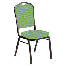 Embroidered Crown Back Banquet Chair in Rapture Lime Fabric - Gold Vein Frame