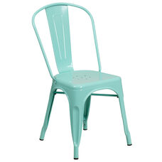 Mint Green Metal Indoor-Outdoor Stackable Chair
