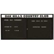2 Door Indoor Illuminated Enclosed Directory Board with Header and Black Anodized Aluminum Frame - 36