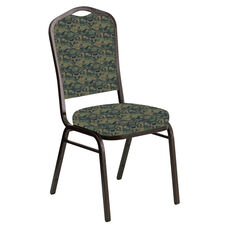 Embroidered Crown Back Banquet Chair in Perplex Clover Fabric - Gold Vein Frame