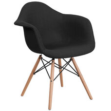 Alonza Series Genoa Black Fabric Chair with Wood Base