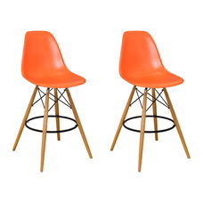 Paris Tower Barstool with Wood Legs and Orange Seat - Set of 2