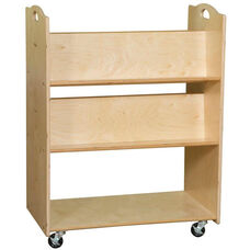 Contender Mobile Double Sided Library Cart with Four Sloped Shelves - Unassembled - 30