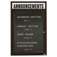 1 Door Outdoor Enclosed Directory Board with Header and Black Anodized Aluminum Frame - 24