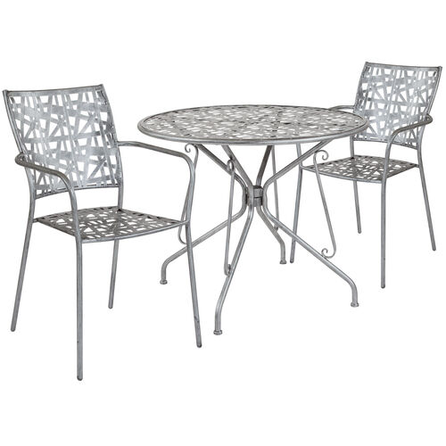 """Our Agostina Series 35.25"""" Round Antique Silver Indoor-Outdoor Steel Patio Table with 2 Stack Chairs is on sale now."""