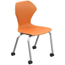 Apex Series Plastic Caster Chair with 16''H Seat - Pumpkin Spice Seat and Chrome Frame - 19.75''W x 21.25''D x 30.75''H