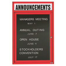 1 Door Indoor Enclosed Directory Board with Header and Red Anodized Aluminum Frame - 36
