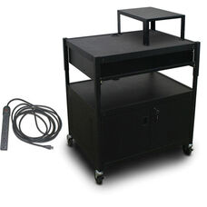 Spartan Series Adjustable Media Projector Cart and Cabinet with One Pull-Out Front-Shelf and Expansion Shelf with Eight Outlet Electrical Unit - Black