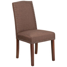 HERCULES Hampton Hill Series Brown Fabric Parsons Chair with Silver Accent Nail Trim