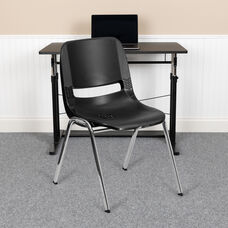 HERCULES Series 880 lb. Capacity Black Ergonomic Shell Stack Chair with Chrome Frame and 18