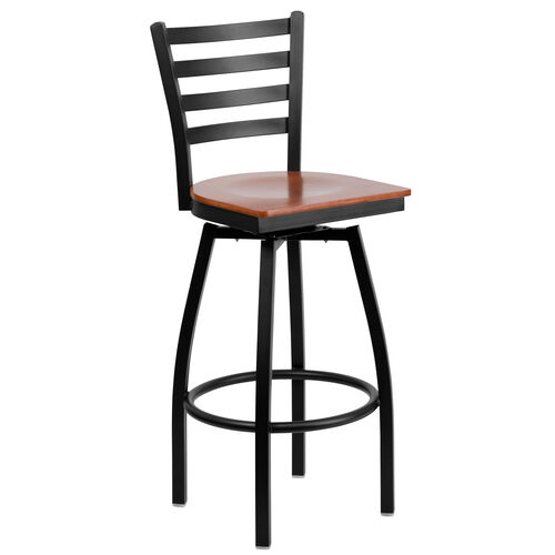 Our Black Metal Ladder Back Restaurant Barstool with Cherry Wood Swivel Seat is on sale now.