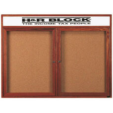 2 Door Enclosed Bulletin Board with Header and Cherry Finish - 48