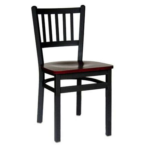 Our Troy Metal Slat Back Chair - Black Wood Seat is on sale now.