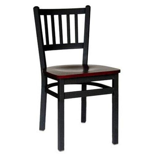 Troy Metal Slat Back Chair - Black Wood Seat