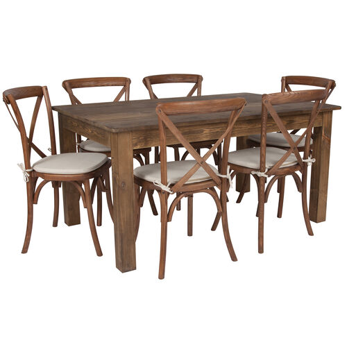 """Our 60"""" x 38"""" Antique Rustic Farm Table Set with 6 Cross Back Chairs and Cushions is on sale now."""