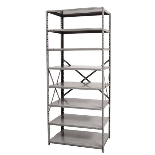 Hi-Tech Open Style 8 Adjustable Metal Shelving Starter Unit - Unassembled - Dark Gray - 48