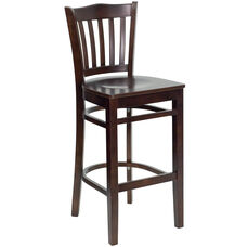 Walnut Finished Vertical Slat Back Wooden Restaurant Barstool