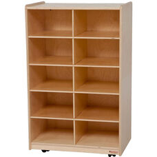Wooden Vertical Storage Unit with 10 Lime Green Plastic Trays - 24