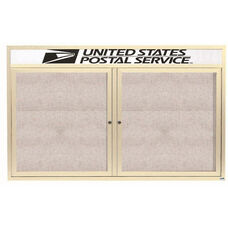 2 Door Outdoor Illuminated Enclosed Bulletin Board with Header and Ivory Powder Coated Aluminum Frame - 36