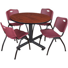 Kobe 48'' Round Laminate Breakroom Table with 4 ''M'' Stack Chairs - Cherry Table Finish and Burgundy Chairs