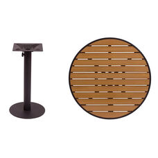 Longport Round Table 36'' Synthetic Teak Top - Round Margate Base