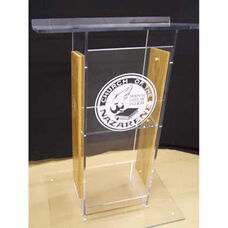 Clear ''H'' Style Acrylic Sides and Clear Floor Panel Lectern - Oak Finish - 27''W x 16''D x 48''H