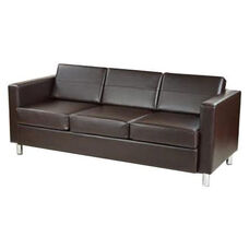 Ave Six Pacific Faux Leather Sofa with Chrome Finish Legs - Espresso