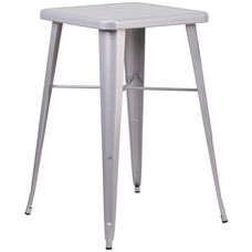 "Commercial Grade 23.75"" Square Silver Metal Indoor-Outdoor Bar Height Table"