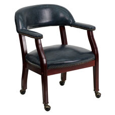Navy Vinyl Luxurious Conference Chair with Casters