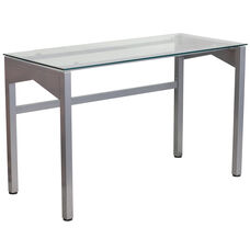 Contemporary Clear Tempered Glass Desk with Geometric Sides