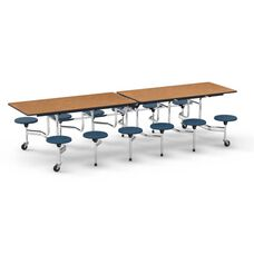 MTS Series Medium Oak Mobile Folding Table with 17