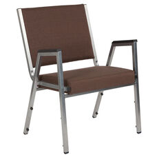HERCULES Series 1500 lb. Rated Brown Antimicrobial Fabric Bariatric Arm Chair with Silver Vein Frame