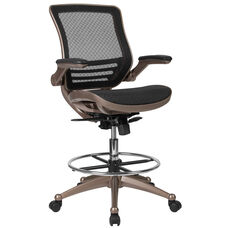 Drafting Chair | Adjustable Height Mid-Back Mesh Drafting Chair with Arms