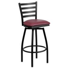 Black Metal Ladder Back Restaurant Barstool with Burgundy Vinyl Swivel Seat