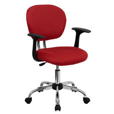 Mid-Back Red Mesh Padded Swivel Task Office Chair with Chrome Base and Arms