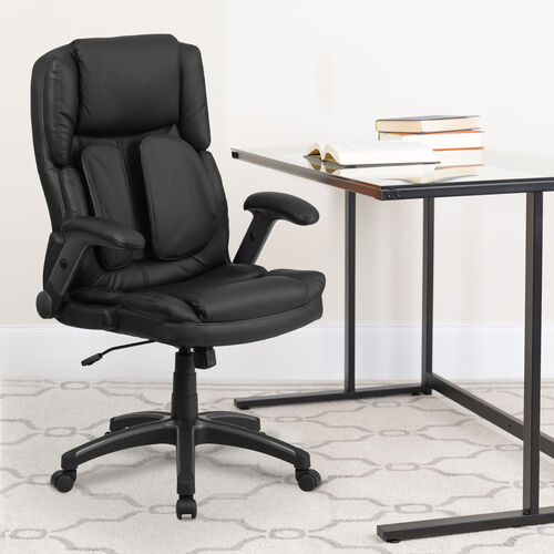 Our Extreme Comfort High Back Black LeatherSoft Executive Swivel Ergonomic Office Chair with Flip-Up Arms is on sale now.
