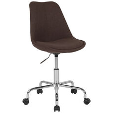 Aurora Series Mid-Back Brown Fabric Task Office Chair with Pneumatic Lift and Chrome Base