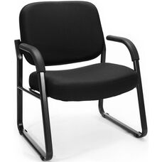 Big & Tall Guest and Reception Fabric Chair with Arms - Black