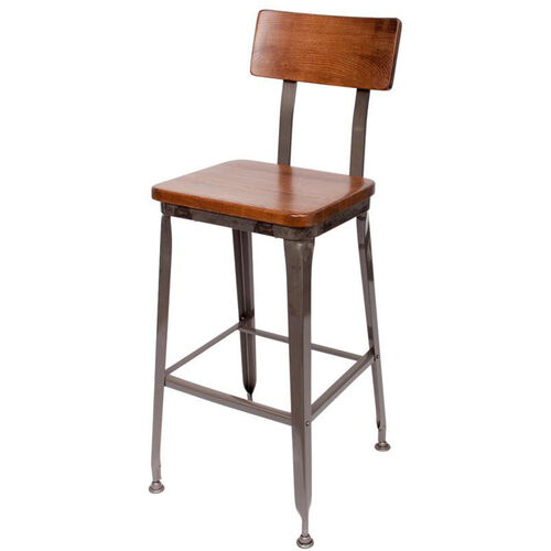 Our Lincoln Metal Clear Coat Barstool - Ash Wood Seat and Back is on sale now.