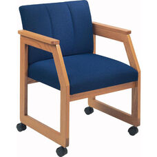 Classic Series Angle Arm Double Tufted Guest Chair with Sled Base and Casters