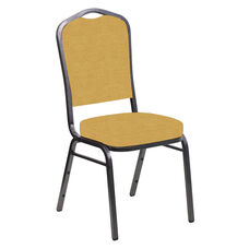 Embroidered Crown Back Banquet Chair in Phoenix Sand Fabric - Silver Vein Frame