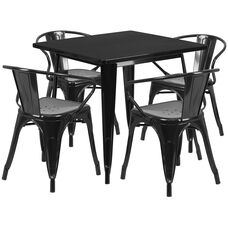 """Commercial Grade 31.5"""" Square Black Metal Indoor-Outdoor Table Set with 4 Arm Chairs"""