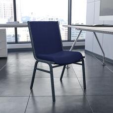 HERCULES Series Heavy Duty Navy Blue Dot Fabric Stack Chair