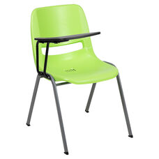 Green Ergonomic Shell Chair with Right Handed Flip-Up Tablet Arm