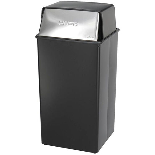 Reflections® 36 Gallon Push Top Steel Construction Receptacle with Corner Hooks - Black