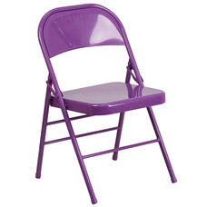 HERCULES COLORBURST Series Impulsive Purple Triple Braced & Double-Hinged Metal Folding Chair