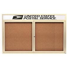2 Door Indoor Illuminated Enclosed Bulletin Board with Header and Ivory Powder Coated Aluminum Frame - 36
