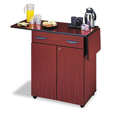 Safco® Hospitality Service Cart - One-Shelf - 32-1/2w x 20-1/2d x 38-3/4h - Mahogany